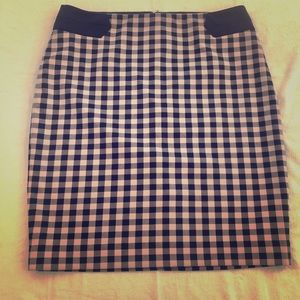 Navy and pink checked pencil skirt
